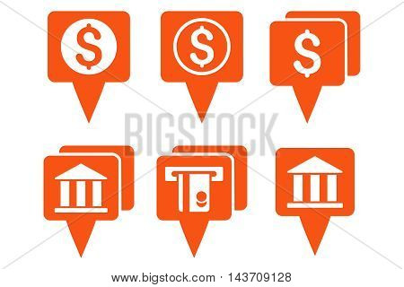 Bank Map Pointers vector icons. Pictogram style is orange flat icons with rounded angles on a white background.