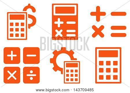 Calculator vector icons. Pictogram style is orange flat icons with rounded angles on a white background.