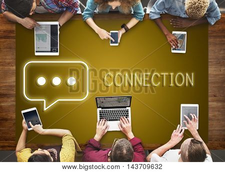 Connection Using Digital Devices Communication Concept