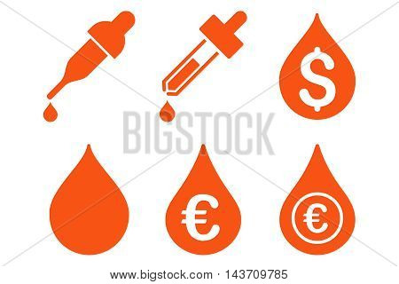 Drops Price vector icons. Pictogram style is orange flat icons with rounded angles on a white background.