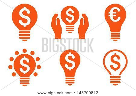 Electric Light Price vector icons. Pictogram style is orange flat icons with rounded angles on a white background.