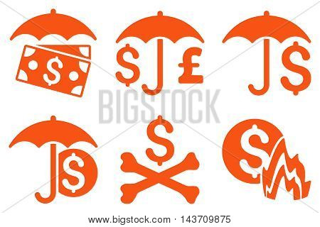 Financial Umbrella vector icons. Pictogram style is orange flat icons with rounded angles on a white background.