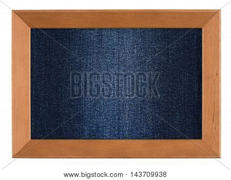 Wood frame with jeans texture isolated on white background