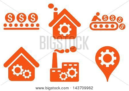 Industrial Production vector icons. Pictogram style is orange flat icons with rounded angles on a white background.