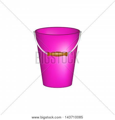 Bucket in purple design on white background