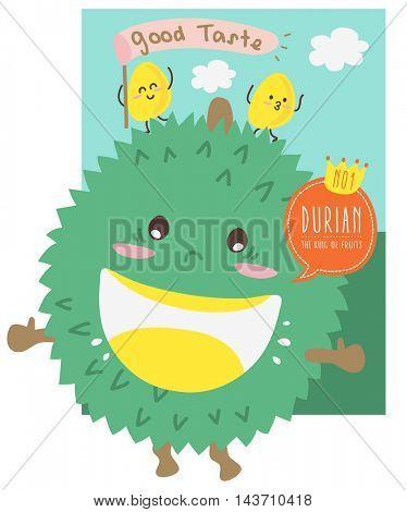 Cute Durian Cartoon/ Mascot Vector Design