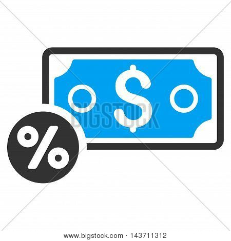 Banknote Percent icon. Glyph style is bicolor flat iconic symbol with rounded angles, blue and gray colors, white background.