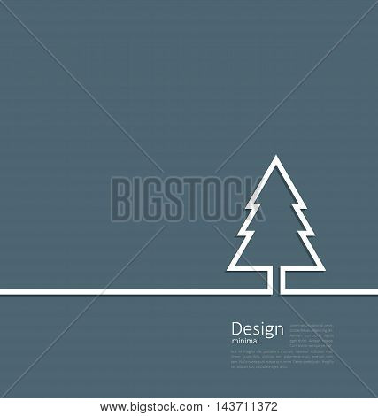 Laconic design of xmas tree fir on cleaness line flat template corparate style with space for text - vector