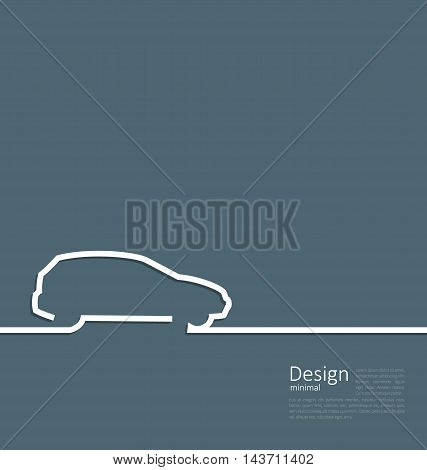 Laconic design of velocity vehicle car cleaness line flat template corparate style with space for text - vector