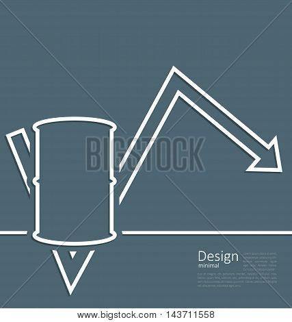 Illustration arrow indicating trend dynamic price oil, barrel roll, logo template corporate style - vector
