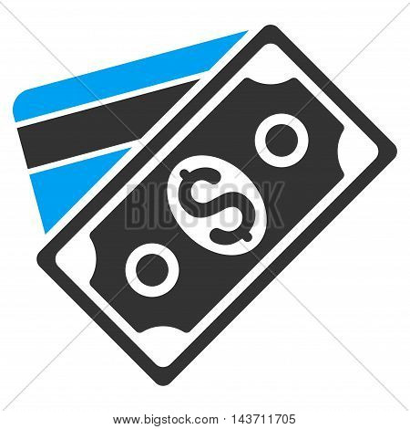 Money icon. Glyph style is bicolor flat iconic symbol with rounded angles, blue and gray colors, white background.