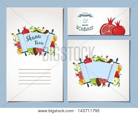 card for Jewish holiday Rosh Hashana with traditional symbols. vector illustration