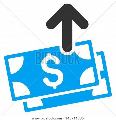 Send Banknotes icon. Glyph style is bicolor flat iconic symbol with rounded angles, blue and gray colors, white background.