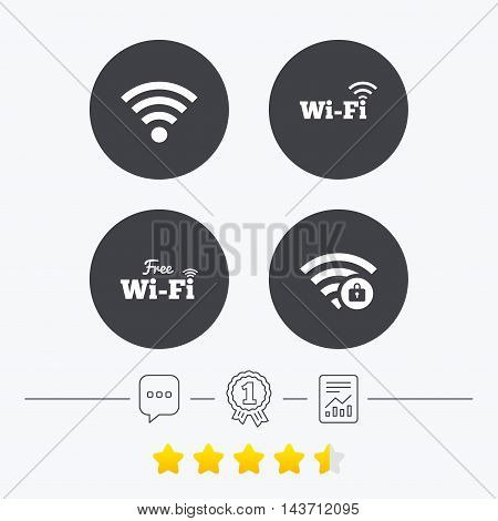 Free Wifi Wireless Network icons. Wi-fi zone locked symbols. Password protected Wi-fi sign. Chat, award medal and report linear icons. Star vote ranking. Vector