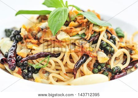 Spaghetti fresh pepper and clams close up and detail