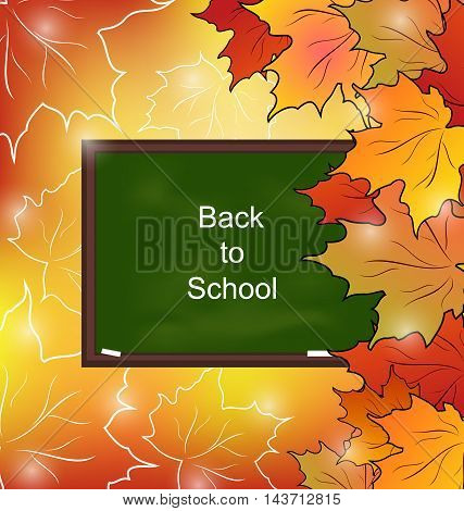 Illustration School Board with Maple Leaves, Autumn Bright Background - Vector