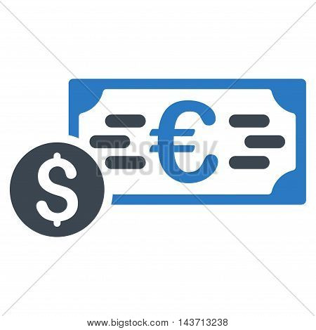 Dollar and Euro Cash icon. Glyph style is bicolor flat iconic symbol with rounded angles, smooth blue colors, white background.