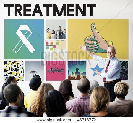 Ribbon Cure Healthcare Treatment Concept