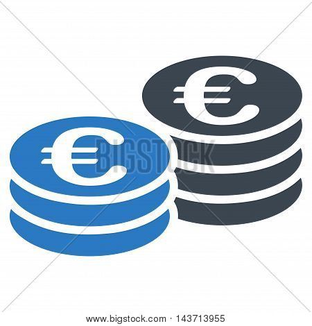 Euro Coin Stacks icon. Glyph style is bicolor flat iconic symbol with rounded angles, smooth blue colors, white background.
