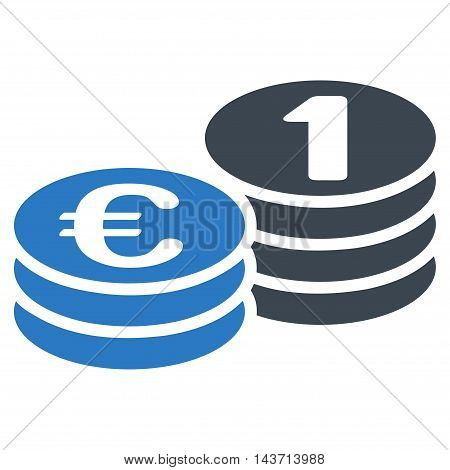 Euro Coins icon. Glyph style is bicolor flat iconic symbol with rounded angles, smooth blue colors, white background.