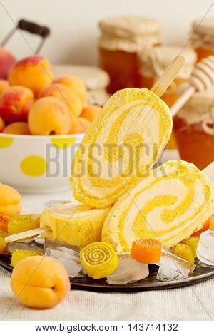 Summer dessert. Ice cream apricot. Selective focus.