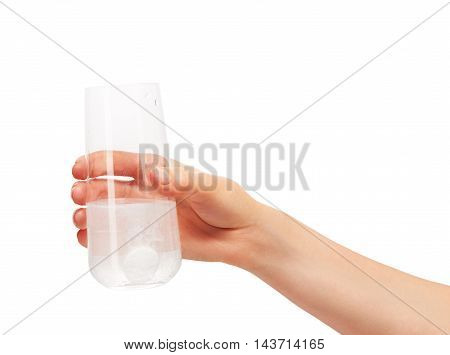 Hand Holding Drinking Glass With Tablet Dissolving In Water