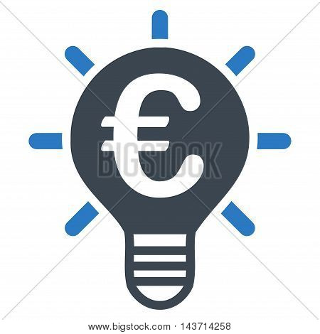 Euro Innovation icon. Glyph style is bicolor flat iconic symbol with rounded angles, smooth blue colors, white background.