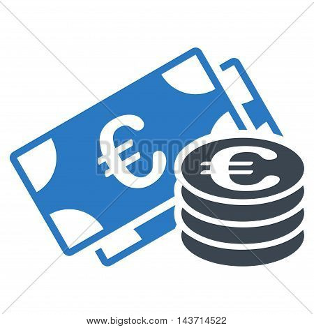 Euro Money icon. Glyph style is bicolor flat iconic symbol with rounded angles, smooth blue colors, white background.
