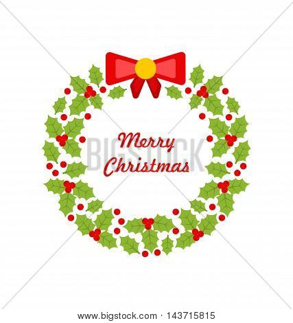 Illustration Christmas Wreath Made of Holly Berries Isolated on White Background, Minimalism Style - Vector