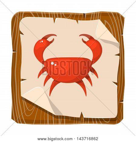 Funny cartoon crab. Vector illustration in cartoon style