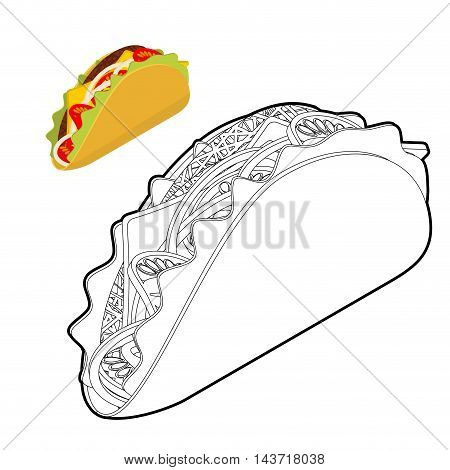 Taco Coloring Book. Traditional Mexican Food In Linear Style. Tortilla Chips And Onion. Tomato And F