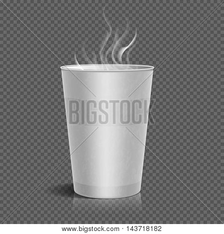 Disposable takeaway paper coffee cup with steam isolated on checkered background. Vector illustration