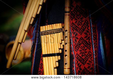 Peruvian musical instrument pan flute or pipe