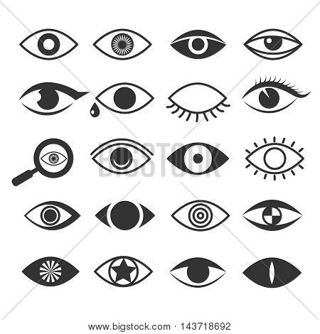 Eyes eye vision vector icons set. Eyeball and eyesight, optical logo collection illustration