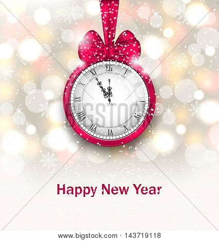 Illustration New Year Midnight Glowing Background with Clock - Vector