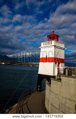 Light house inner harbor on the seawall