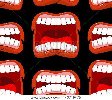 Yells Lips Seamless Pattern. Cry Background. Aggressive Emotion Texture. Open Your Mouth And Tongue.