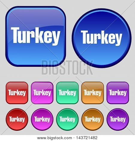Turkey Icon Sign. A Set Of Twelve Vintage Buttons For Your Design. Vector