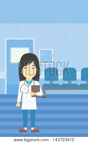 An asian friendly doctor holding a file in hospital corridor. Smiling female doctor with stetoscope carrying folder of patient or medical information. Vector flat design illustration. Vertical layout.
