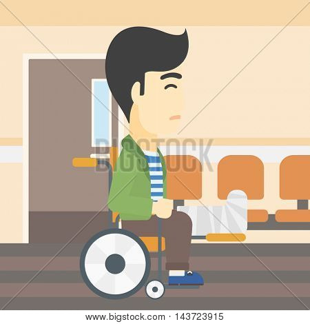 An asian injured man with leg in plaster. Man with broken leg sitting in wheelchair. Man with fractured leg in the hospital corridor. Vector flat design illustration. Square layout.