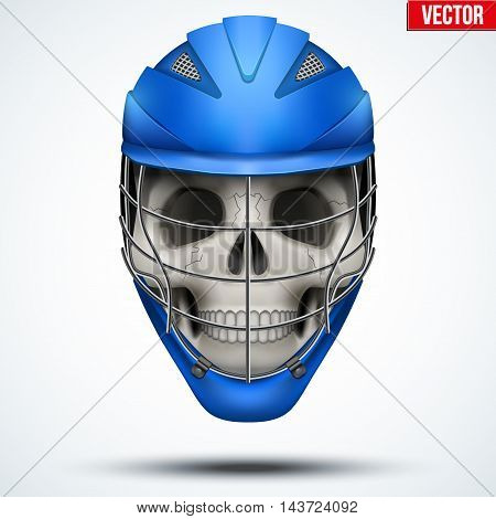 Human skull with Lacrosse Helmet. Sport Equipment. Editable Vector illustration isolated on white background.