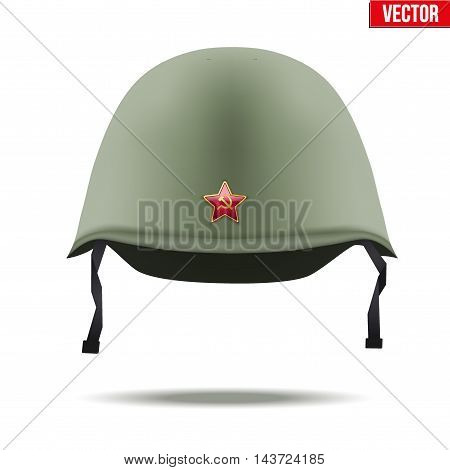 Military classic helmet of russian and soviet union infantry with red star. Vector Illustration Isolated on white background.