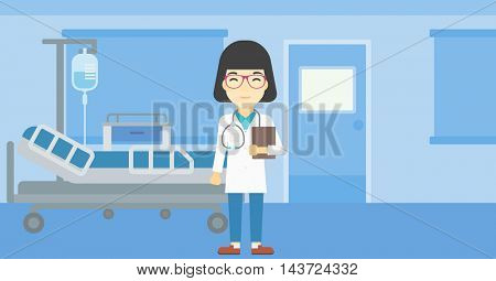 An asian friendly doctor holding a file in hospital ward . Smiling female doctor with stetoscope carrying folder of patient or medical information. Vector flat design illustration. Horizontal layout.