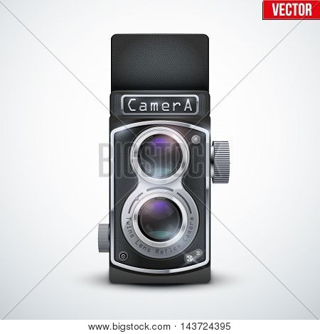 Vintage twin lens reflex camera with open viewfinder. Front view. Realistic retro design of medium format camera. Vector Illustration isolated on white background.