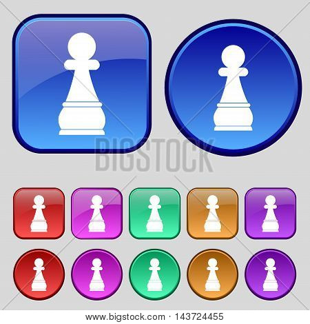 Chess Pawn Icon Sign. A Set Of Twelve Vintage Buttons For Your Design. Vector