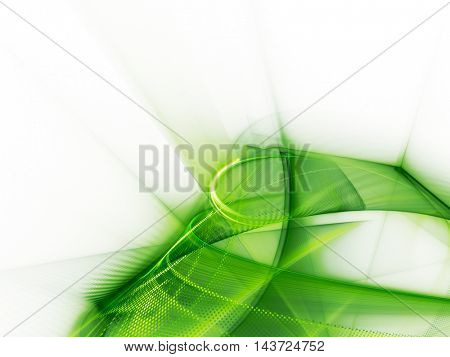 Abstract background element. Fractal graphics series. Composition of glowing lines and mosaic halftone effects. Nature and energy concept. Green and white colors.