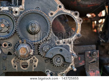 Old Dirty Disassembled Gear Box