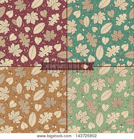 Set of four autumn seamless patterns with seeds and leaves. Vector illustration