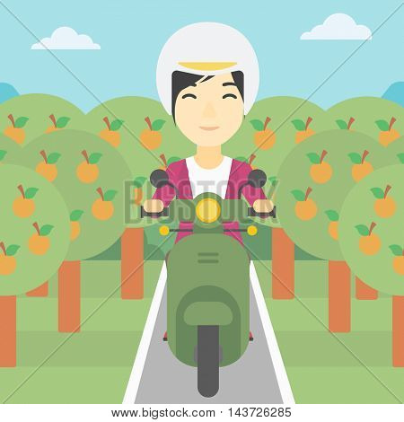 An asian young woman riding a scooter on the asphalt road through the orchard. Young woman in helmet driving a scooter. Vector flat design illustration. Square layout.