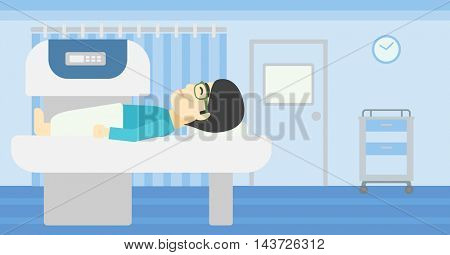 An asian young man undergoes a magnetic resonance imaging scan test at hospital room. Magnetic resonance imaging machine scanning patient. Vector flat design illustration. Horizontal layout.